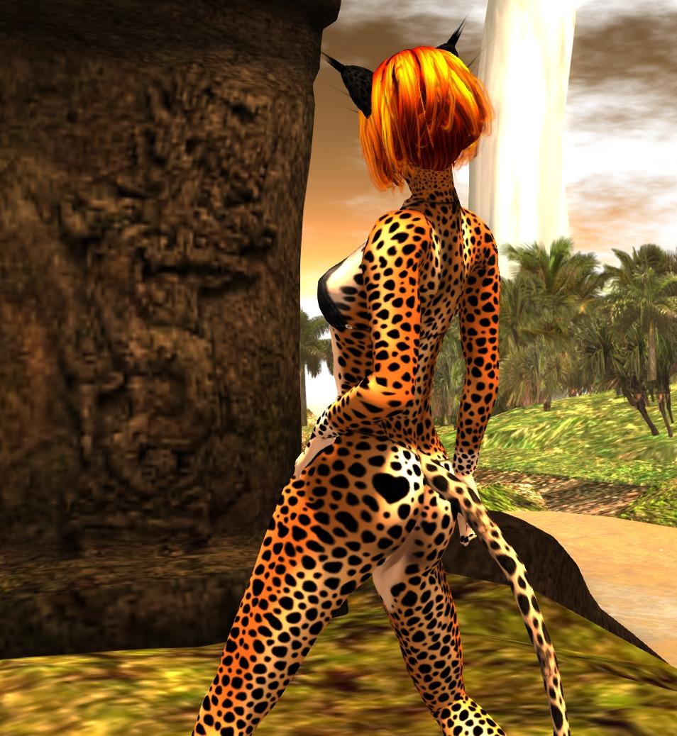 Cheetah girl rear view