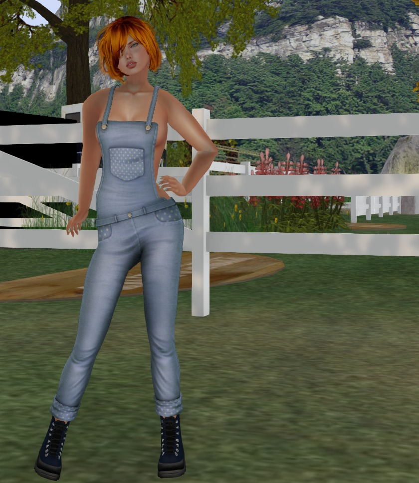 Blue in her overalls