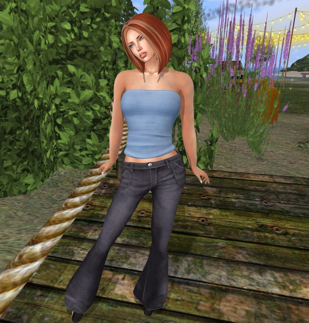 black jeans blue top_002